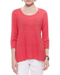 Eileen Fisher | Pink Three Quarter Sleeve Linen Jersey Top | Lyst