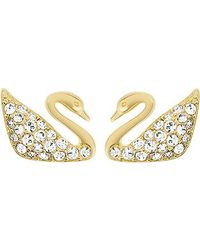 Swarovski | Metallic Swan Mini Pierced Earrings | Lyst