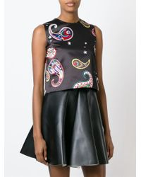MSGM - Black Paisley Print Cropped Top - Lyst