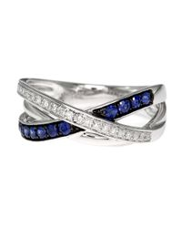 Effy | Blue Royale Bleu 14kt. White Gold Sapphire And Diamond Crossover Ring | Lyst
