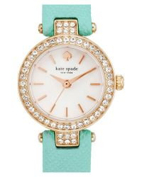 Kate Spade | Blue 'tiny Metro' Crystal Bezel Leather Strap Watch | Lyst