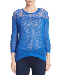 Kensie | Blue Slub-knit Lace-yoke Sweater | Lyst