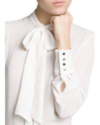 Mango - White Bow Textured Chiffon Blouse - Lyst