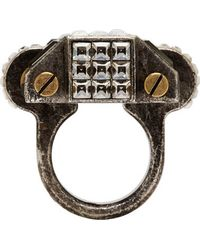 Lanvin | Metallic Gunmetal Geometric Crystal Ring | Lyst