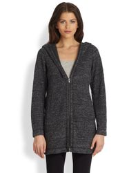 Eileen Fisher | Gray Stretch Hooded Knit Jacket | Lyst
