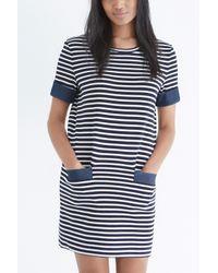 Oasis - Blue Chambray Pocket Stripe Shift Dress - Lyst