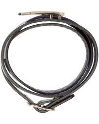 McQ - Blue Navy Leather Wrap Swallow Bracelet - Lyst