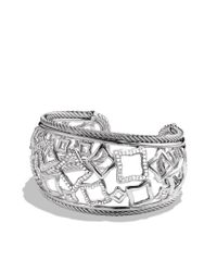 David Yurman | Metallic Quatrefoil Wide Cuff with Diamonds | Lyst