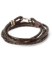 Paul Smith | Brown Wovenleather Wrap Bracelet for Men | Lyst