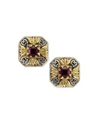 Konstantino - Metallic Silver & 18k Gold Rhodolite Stud Earrings - Lyst