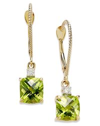 Macy's | Metallic 14k Gold Earrings, Peridot (2-1/5 Ct. T.w.) And Diamond Accent Long Drop Square Earrings | Lyst