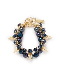 Joomi Lim - Blue Arrowhead Spike Crystal Faux Pearl Bracelet - Lyst