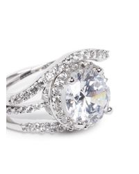 CZ by Kenneth Jay Lane | White Round Cut Cubic Zirconia Pavé Ring Set | Lyst