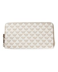 Emporio Armani - Natural Logo Zip Around Wallet - Lyst