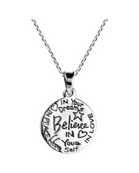 "Aeravida | Gray ""believe\"" Inspirational Message .925 Sterling Silver Necklace 