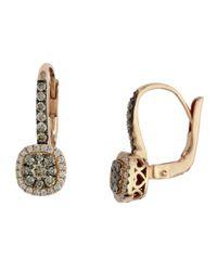 Effy | Metallic Espresso 14 Kt Yellow Gold And 0.62 Ct T W Brown Diamond J Hoop Earrings | Lyst
