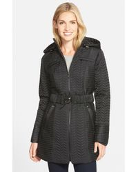 Laundry by Shelli Segal | Black Belted Hooded Quilted Coat | Lyst