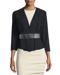 Donna Karan | Black 3/4-sleeve Belted Jacket | Lyst