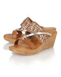 Lotus - Natural Adona Wedge Mules - Lyst
