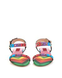 Valentino - Multicolor 1973 Rainbow Rockstud Leather Sandals - Lyst