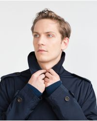Zara   Blue Double-breasted Trench Coat for Men   Lyst