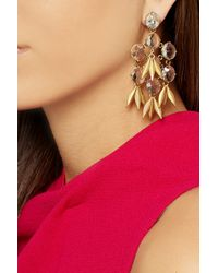 J.Crew - Metallic Jeweled Quill Gold-Plated Crystal Earrings - Lyst