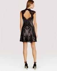 Karen Millen | Black Dress Floral Beaded Mesh | Lyst