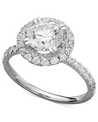 Arabella | Metallic Swarovski Zirconia Round Pave Engagement Ring (3-1/2 Ct. T.w.) | Lyst