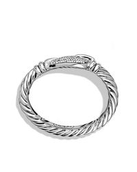 David Yurman - Metallic Cable Buckle Large Bracelet With Diamonds - Lyst