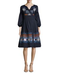 Peter Pilotto - Blue Embroidered Faux-wrap Dress - Lyst