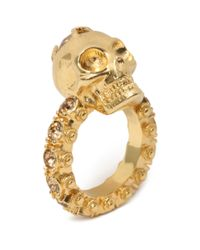 Alexander McQueen | Metallic Jewelled Skull Ring | Lyst