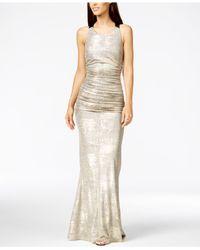 Calvin Klein | Metallic Ruched Halter Gown | Lyst