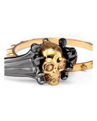 Alexander McQueen | Metallic Claw And Skull Double Cuff | Lyst