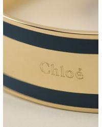 Chloé | Blue Logo Embossed Wide Bangle | Lyst