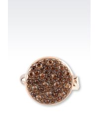 Emporio Armani - Metallic Ring In Gold-Plated Steel And Topaz - Lyst