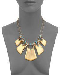 Alexis Bittar   Metallic Phoenix Deco Lucite, Turquoise Howlite, Jasper & Crystal Articulated Bib Necklace   Lyst