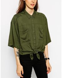 ASOS | Green Boxy Oversize Shirt With Tie Front Detail | Lyst