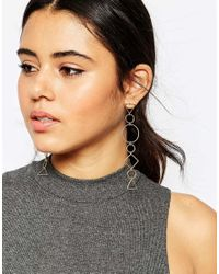 ASOS | Multicolor Open Shapes Long Drop Earrings | Lyst