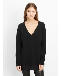 Vince - Black Wool Cashmere V-neck Sweater With Silk Contrast - Lyst