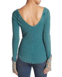 Free People | Green Bali Embroidered-sleeve Thermal Tee | Lyst