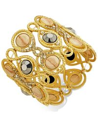 INC International Concepts | Metallic Gold-tone Creme Glass Stone Stretch Bracelet | Lyst