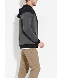 Forever 21 - Gray Zip-up Quilted Hoodie for Men - Lyst