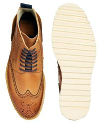 ASOS - Brown Brogue Boots in Leather for Men - Lyst