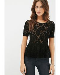 Forever 21 - Black Textured Lace Peplum Top - Lyst