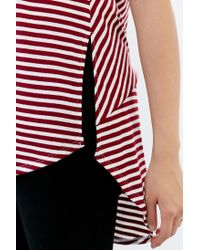 Hiatus - Red Misdirection Side-slit Tunic Top - Lyst