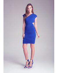 Bebe - Blue Cut-out Asymmetrical Dress - Lyst
