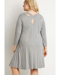 Forever 21 | Gray Plus Size Cutout-back Trapeze Dress You've Been Added To The Waitlist | Lyst