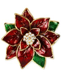 Jones New York | Red Gold-Tone Poinsettia Pin | Lyst