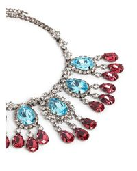 Kenneth Jay Lane | Blue Crystal Teardrop Station Necklace | Lyst