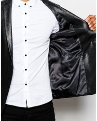 ASOS - Black Slim Blazer In Mock Snakeskin Design for Men - Lyst
